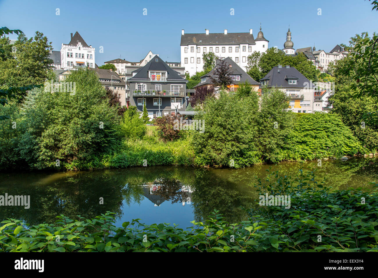 Old town of Arnsberg, a city in the Sauerland region, Germany, river Ruhr Stock Photo