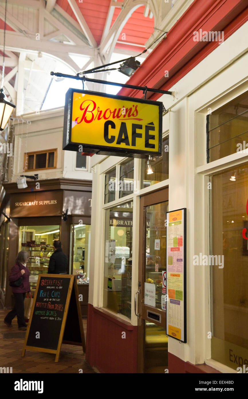 Historic Oxford city in Oxfordshire England UK Brown's cafe in the covered Market - Stock Image