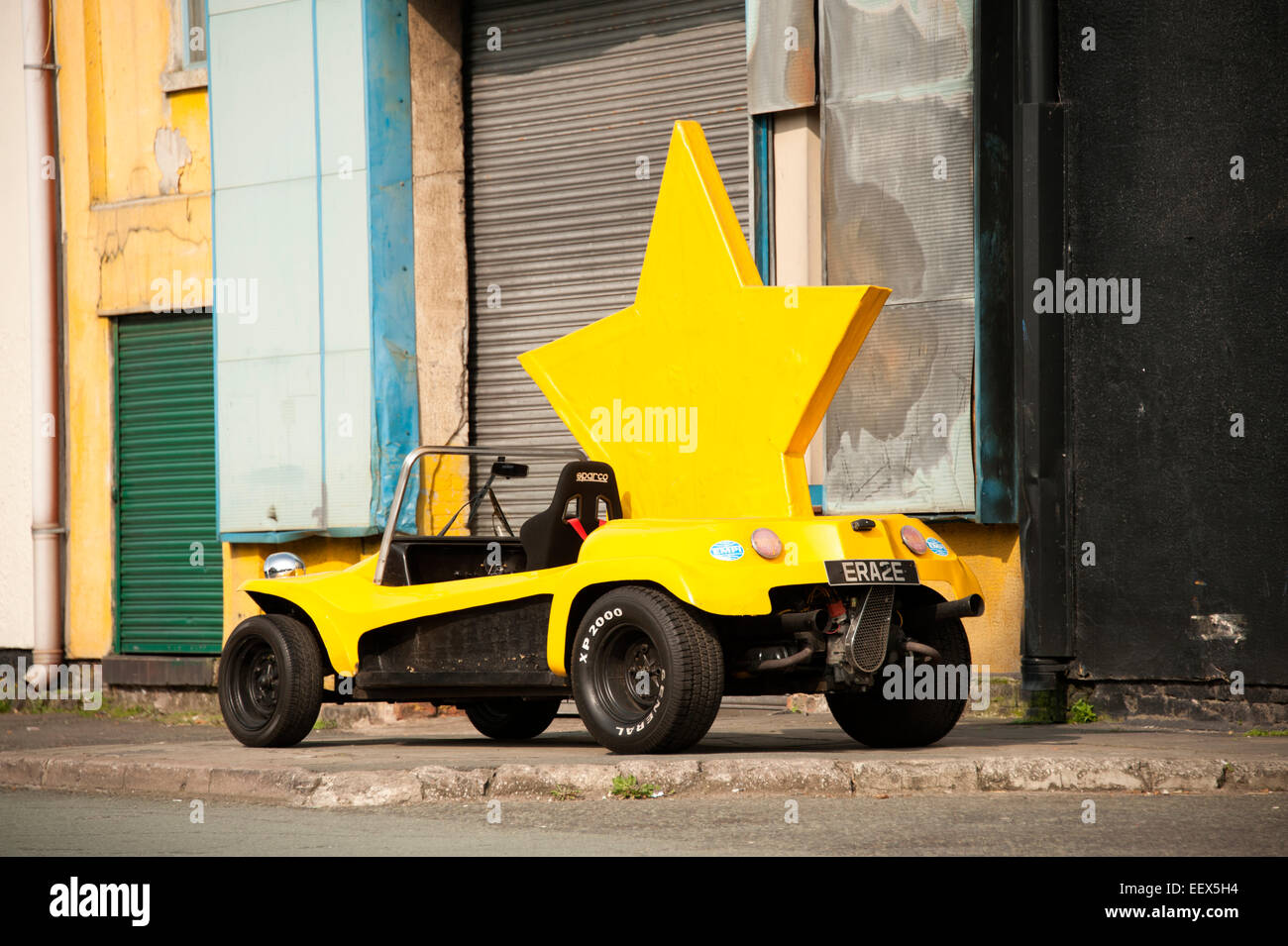 Big Yellow Star Car Dune Buggy Bright Funny Stock Photo