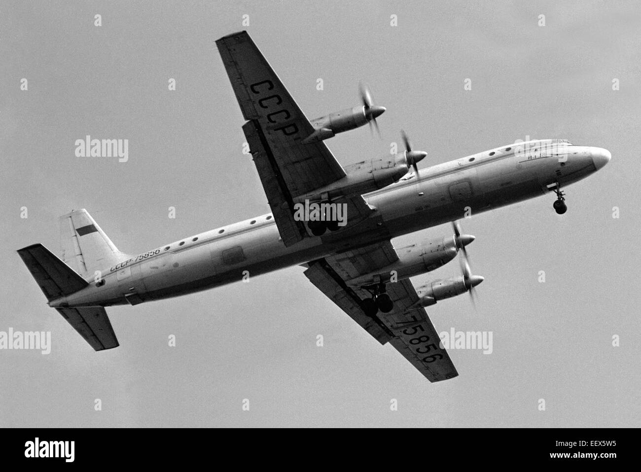 The Soviet passenger aircraft IL-18 before landing at the airport in Leningrad. 1976. - Stock Image