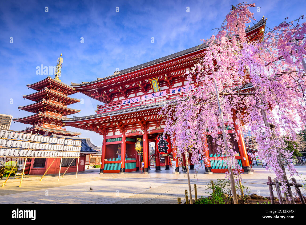 Tokyo, Japan at Sensoji Temple's Hozomon Gate in the Asakusa District in the springtime. - Stock Image