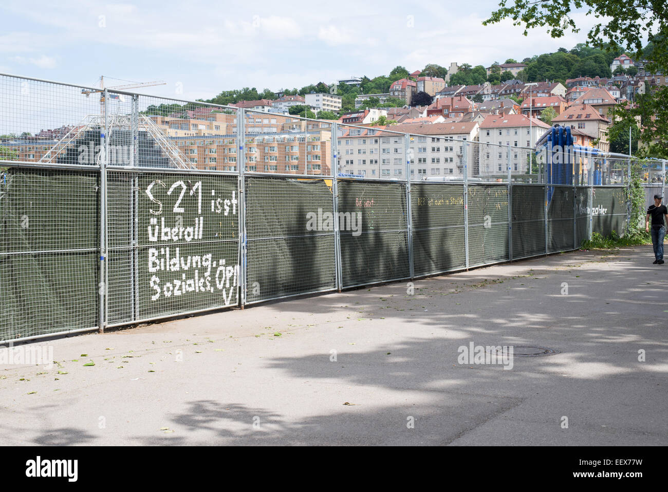 Stuttgart in Germany as seen from the train station S21 construction site - Stock Image