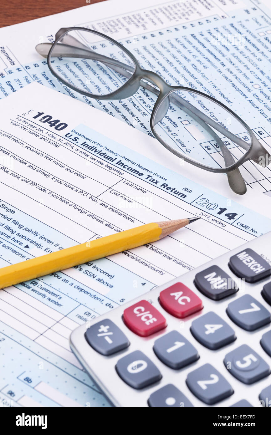 Federal Income Tax form 1040 for the 2014 tax year Stock