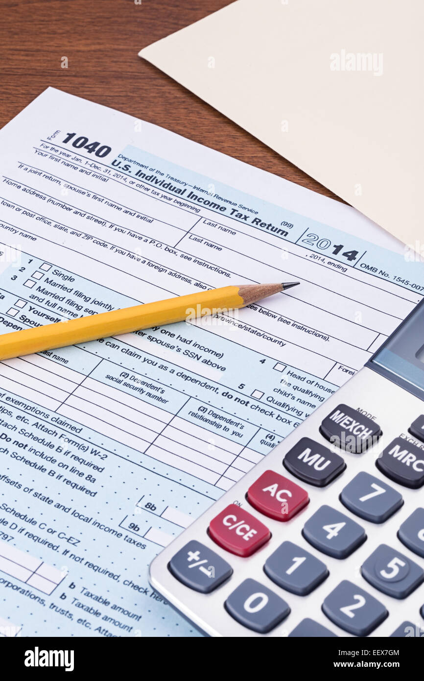 Federal Income Tax Form 1040 For The 2014 Tax Year Stock Photo