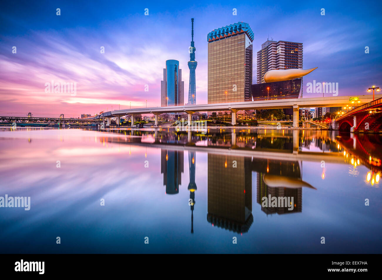 Tokyo, Japan skyline on the Sumida River at dawn. Stock Photo