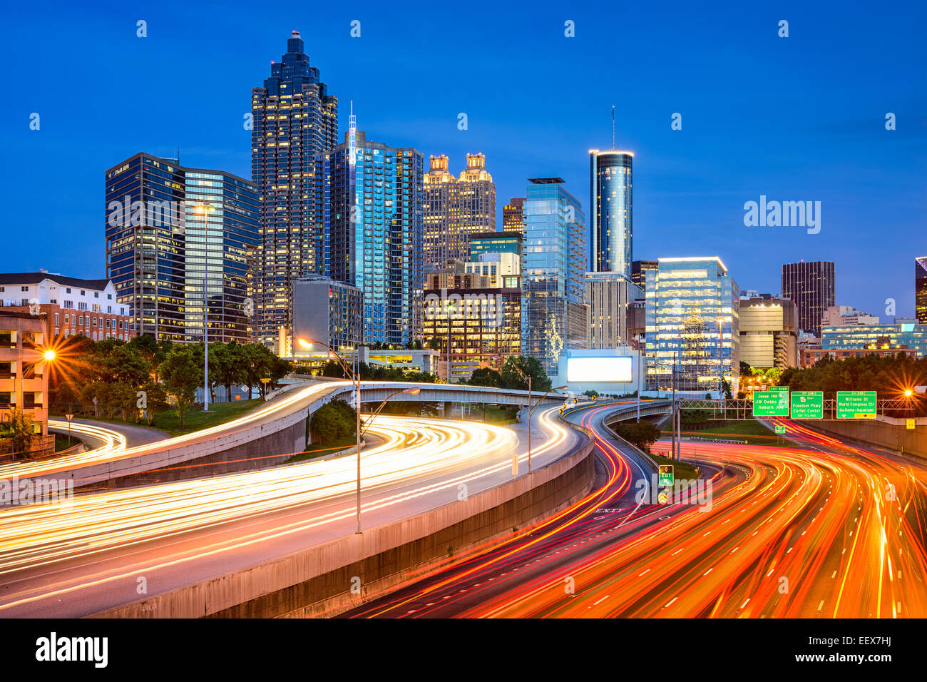 Atlanta, Georgia, USA downtown city skyline over the interstate. - Stock Image
