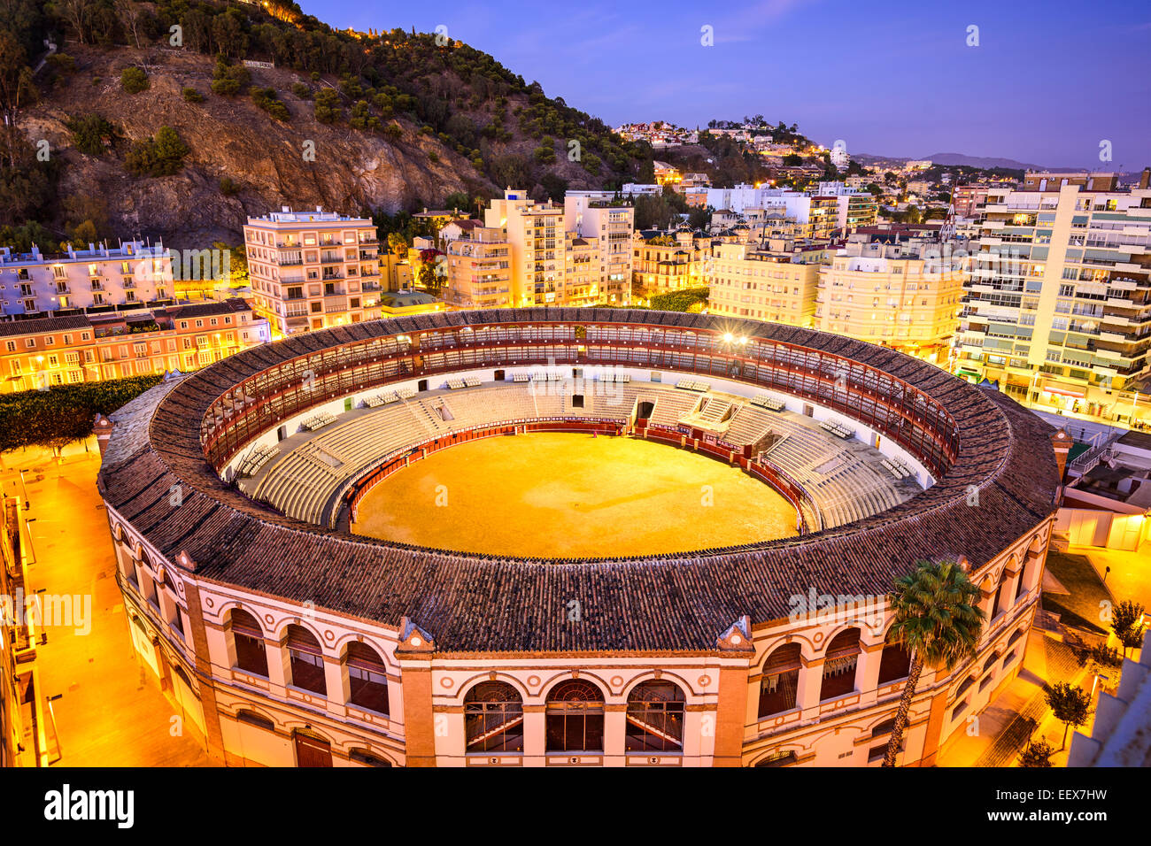 Malaga, Spain downtown skyline over the bullring. - Stock Image