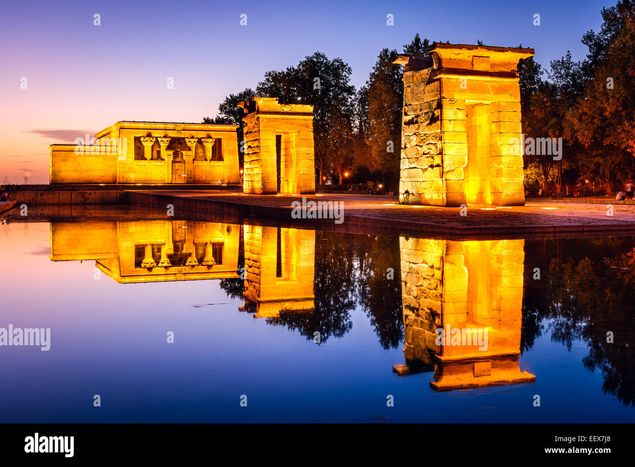 Madrid, Spain at the ancient Egyptian ruins of Temple Debod. - Stock Image