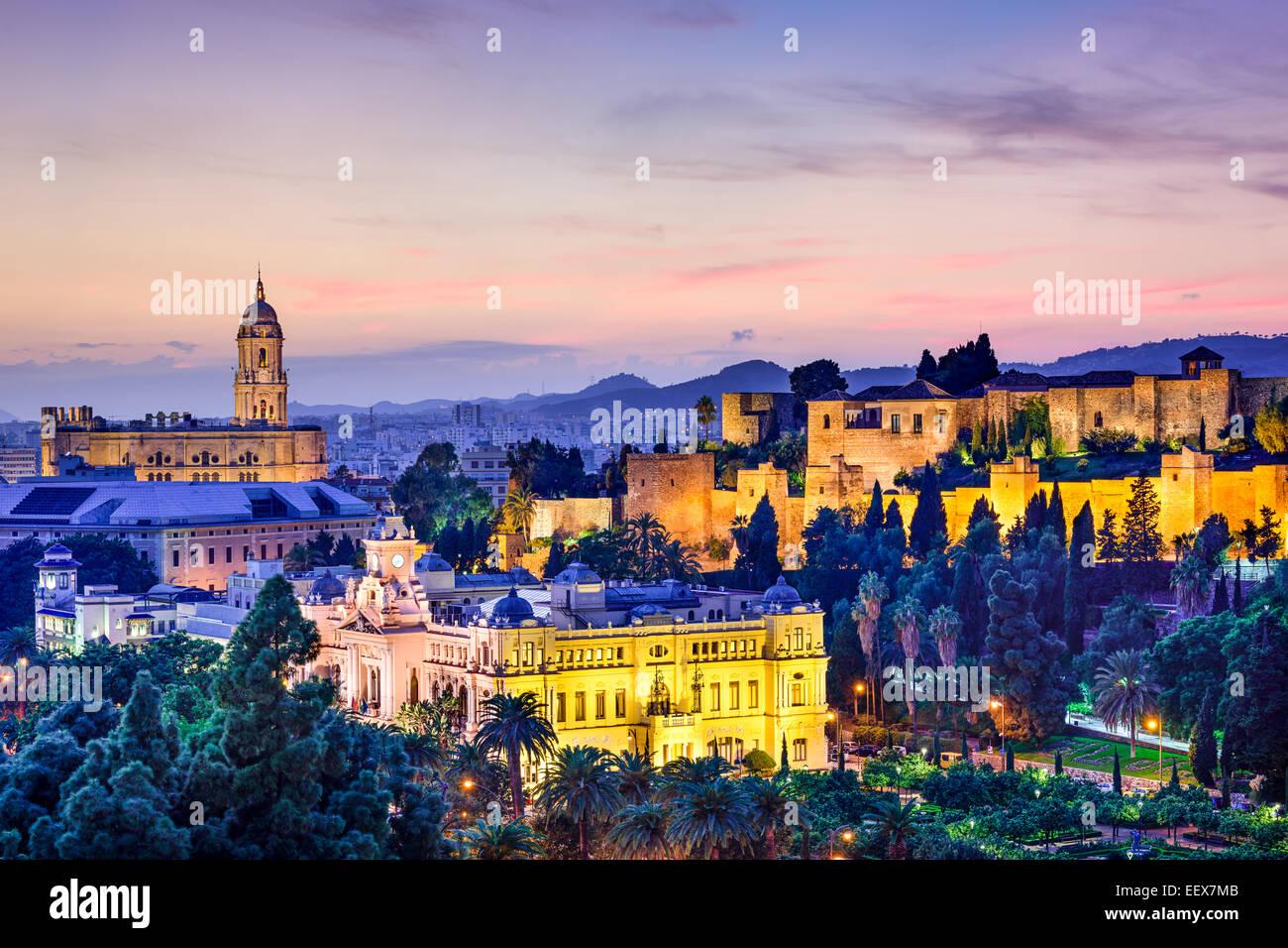 Malaga, Spain cityscape at the Cathedral, City Hall and Alcazaba citadel of Malaga. - Stock Image