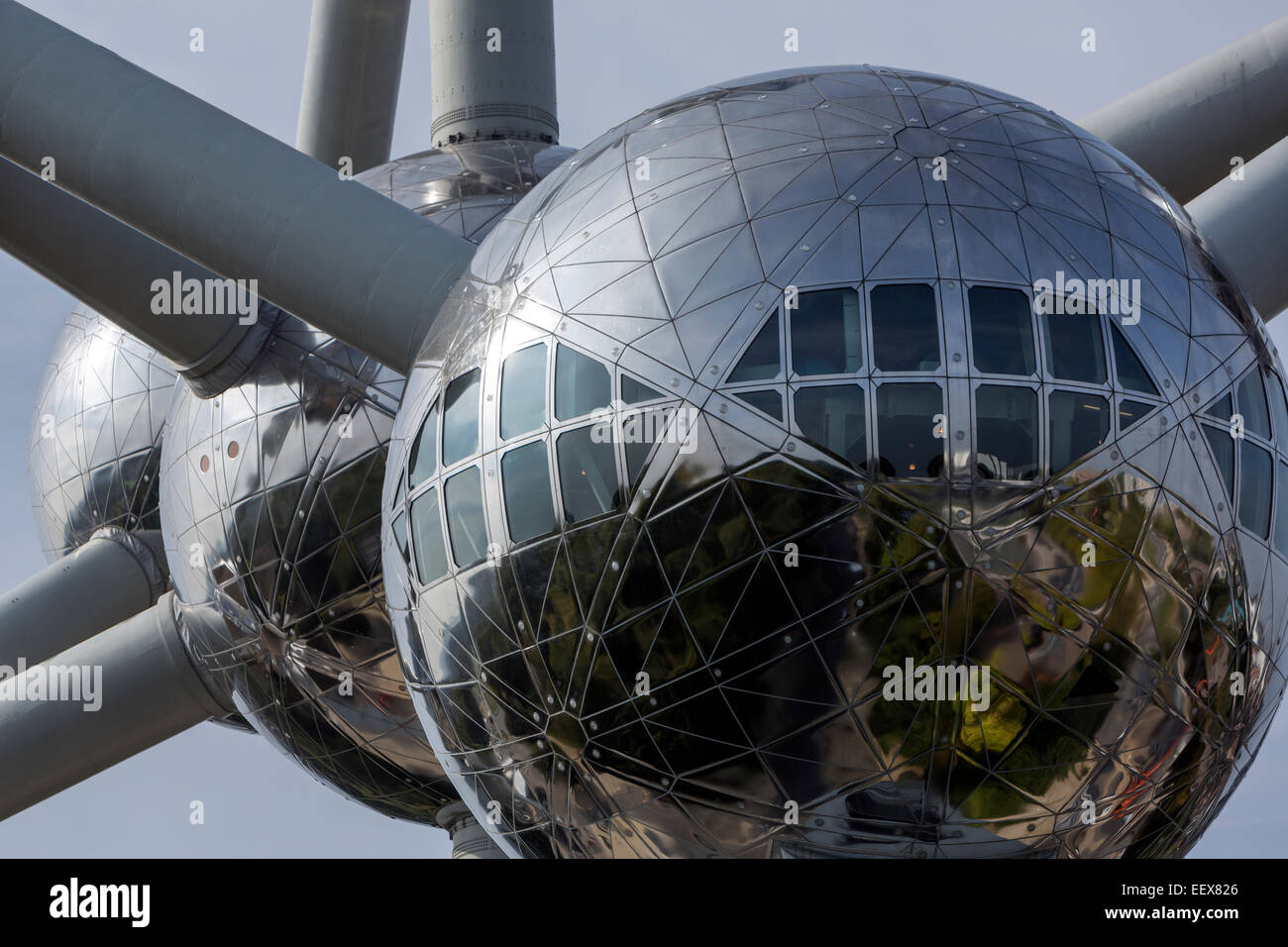 The Atomium is a building in Brussels originally constructed for Expo 58, Designed by André Waterkeyn, André - Stock Image