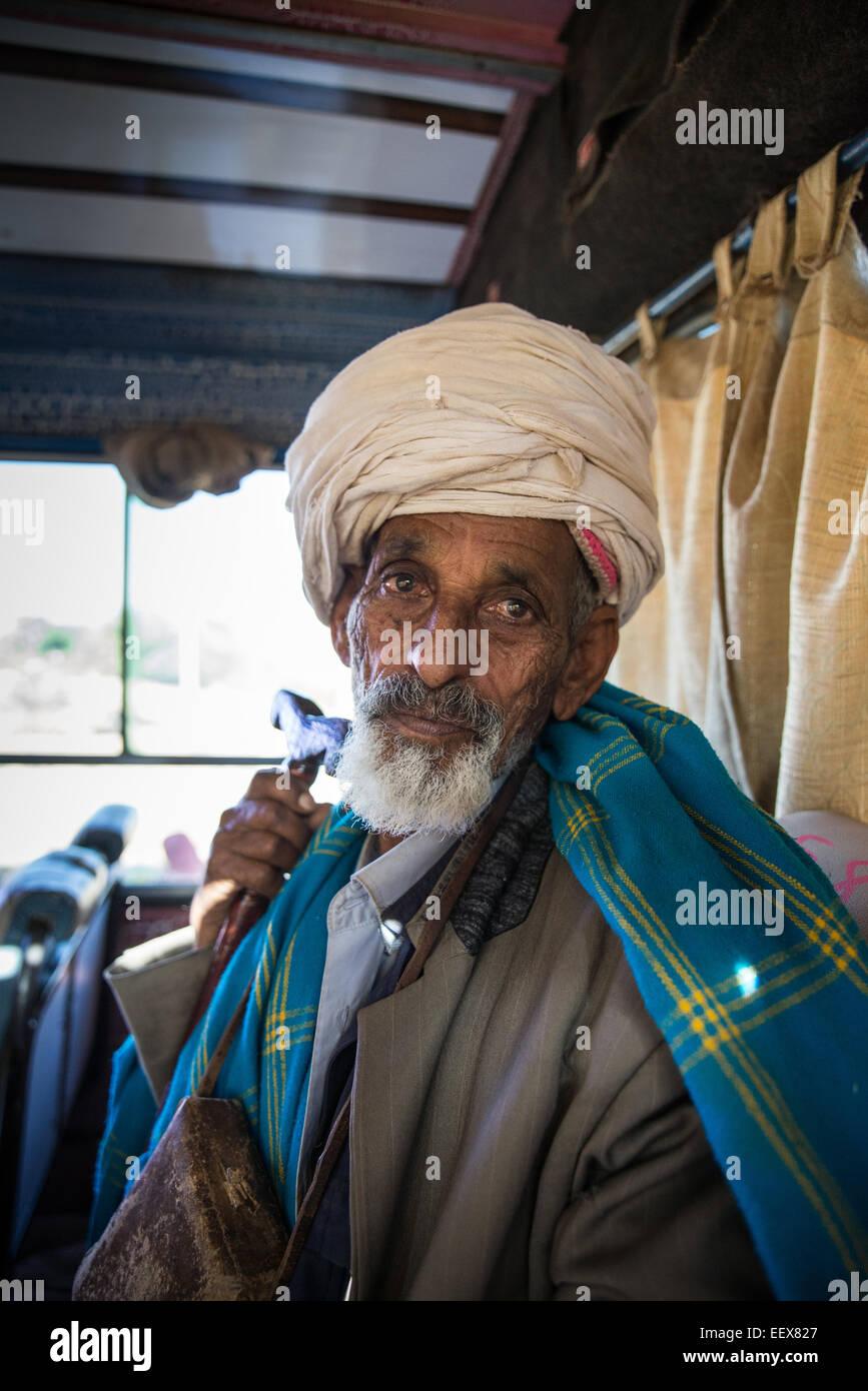 Portrait Of An Elderly Man, Simien mountain, Ethiopia, Africa - Stock Image