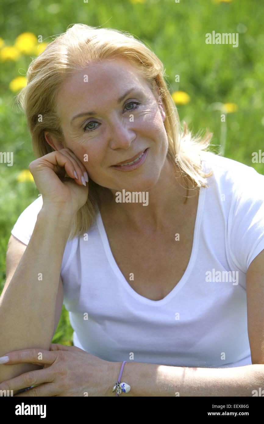 Seniorin, Haare, blond, Portrait, Serie, Frau, 55 -65