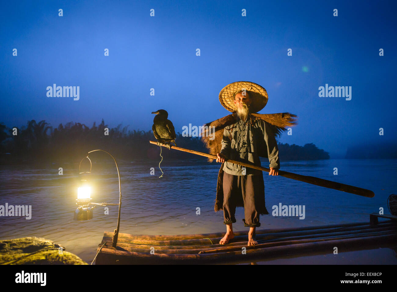 Cormorant fisherman and his birds on the Li River in Yangshuo, Guangxi, China. - Stock Image