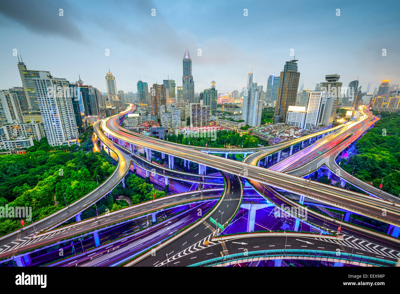 Shanghai, China aerial view and skyline over highways. - Stock Image