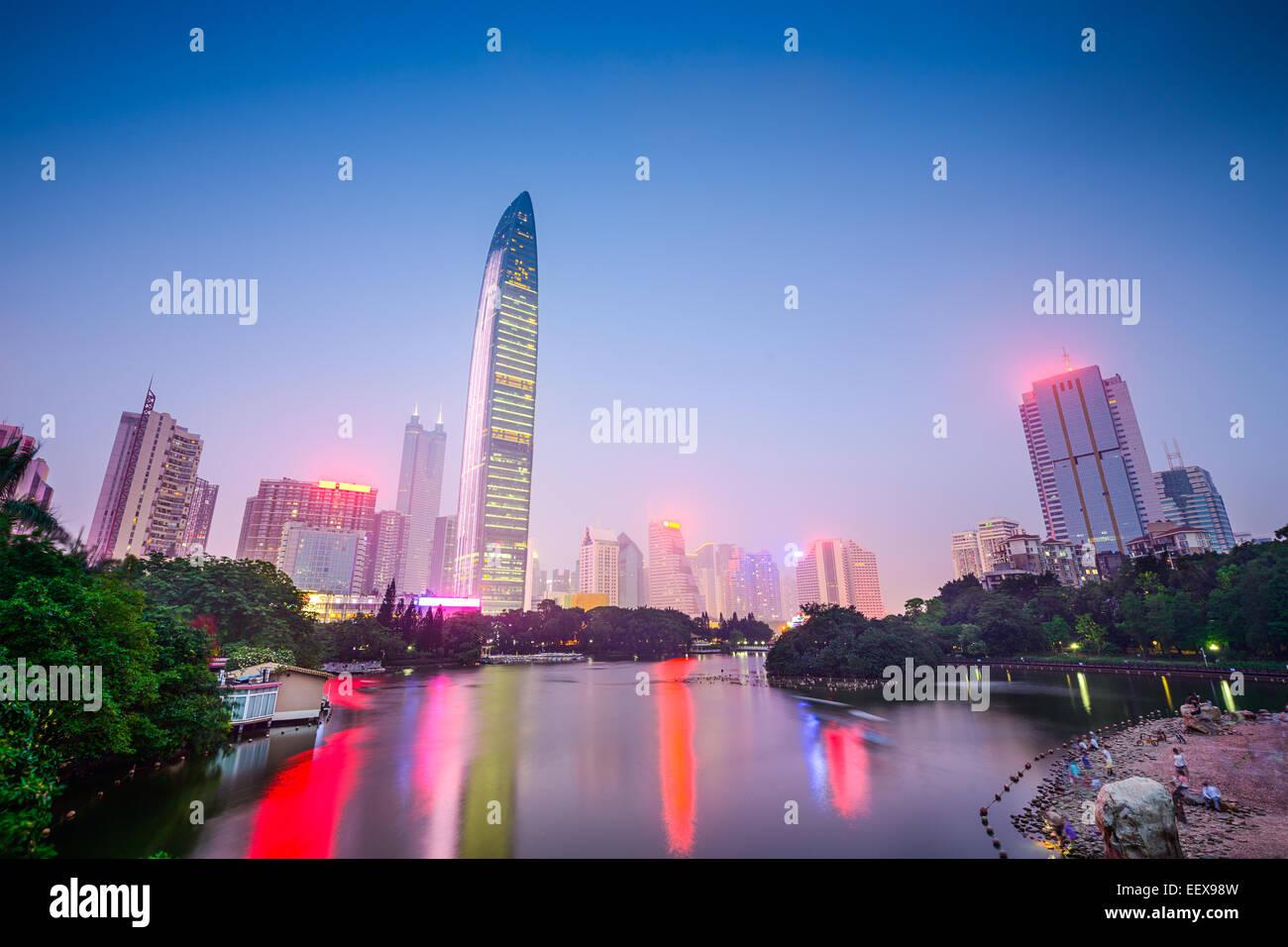 Shenzhen, China city skyline at Lychee Park. - Stock Image