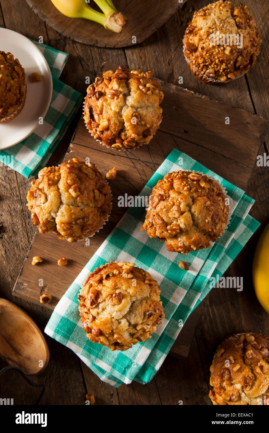 Homemade Banana Nut Muffins Ready to Eat - Stock Image