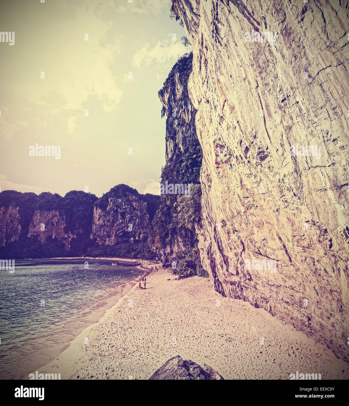 Retro vintage filtered picture of a cliff beach. - Stock Image