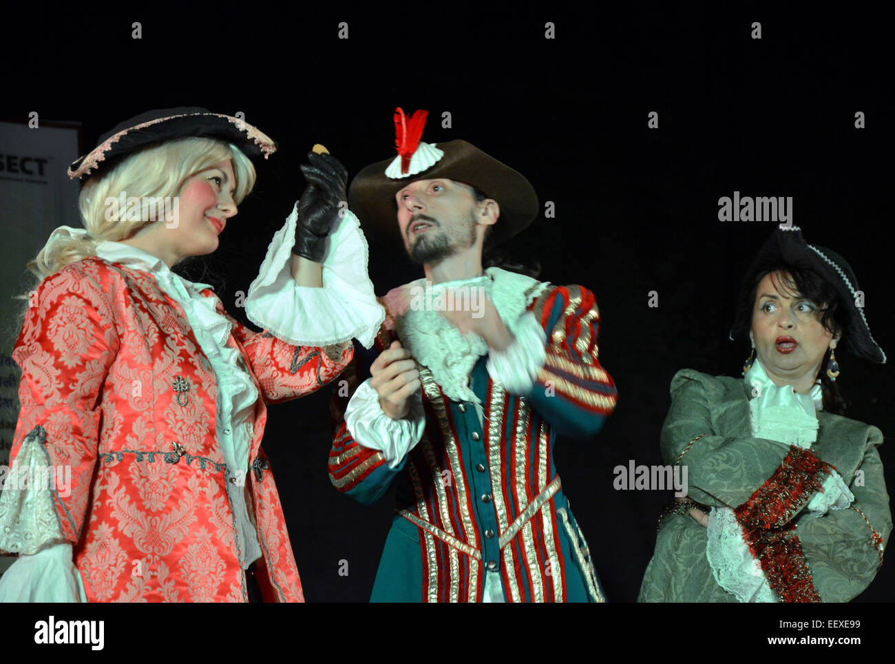 Bhopal, India. 22nd Jan, 2015. Artists from Romania stage drama 'Triumph of Love', an English adaption of - Stock Image