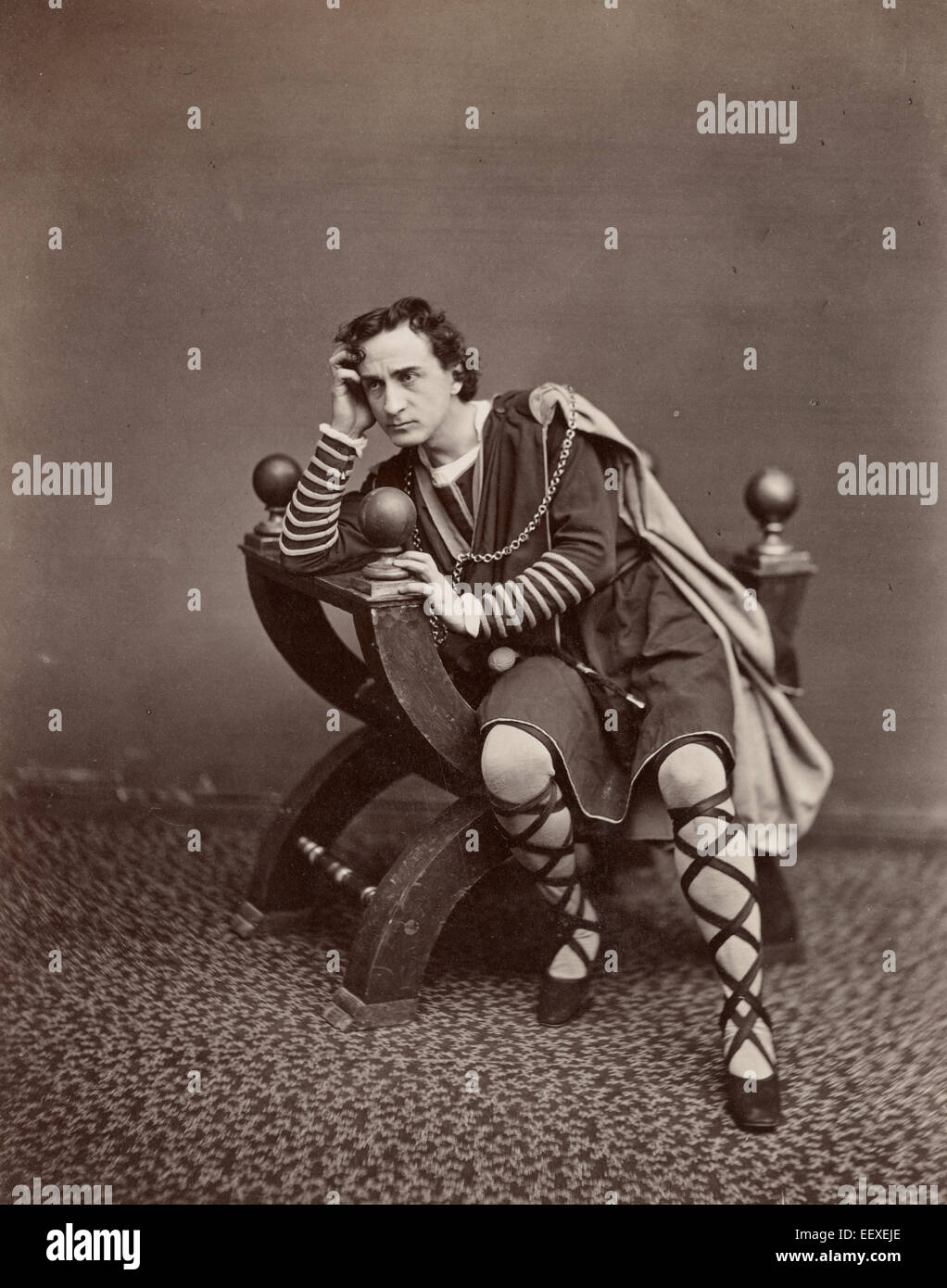 Edwin Booth. Hamlet 'To be or not to be, that is the question' - Edwin Booth in the character of Hamlet, - Stock Image