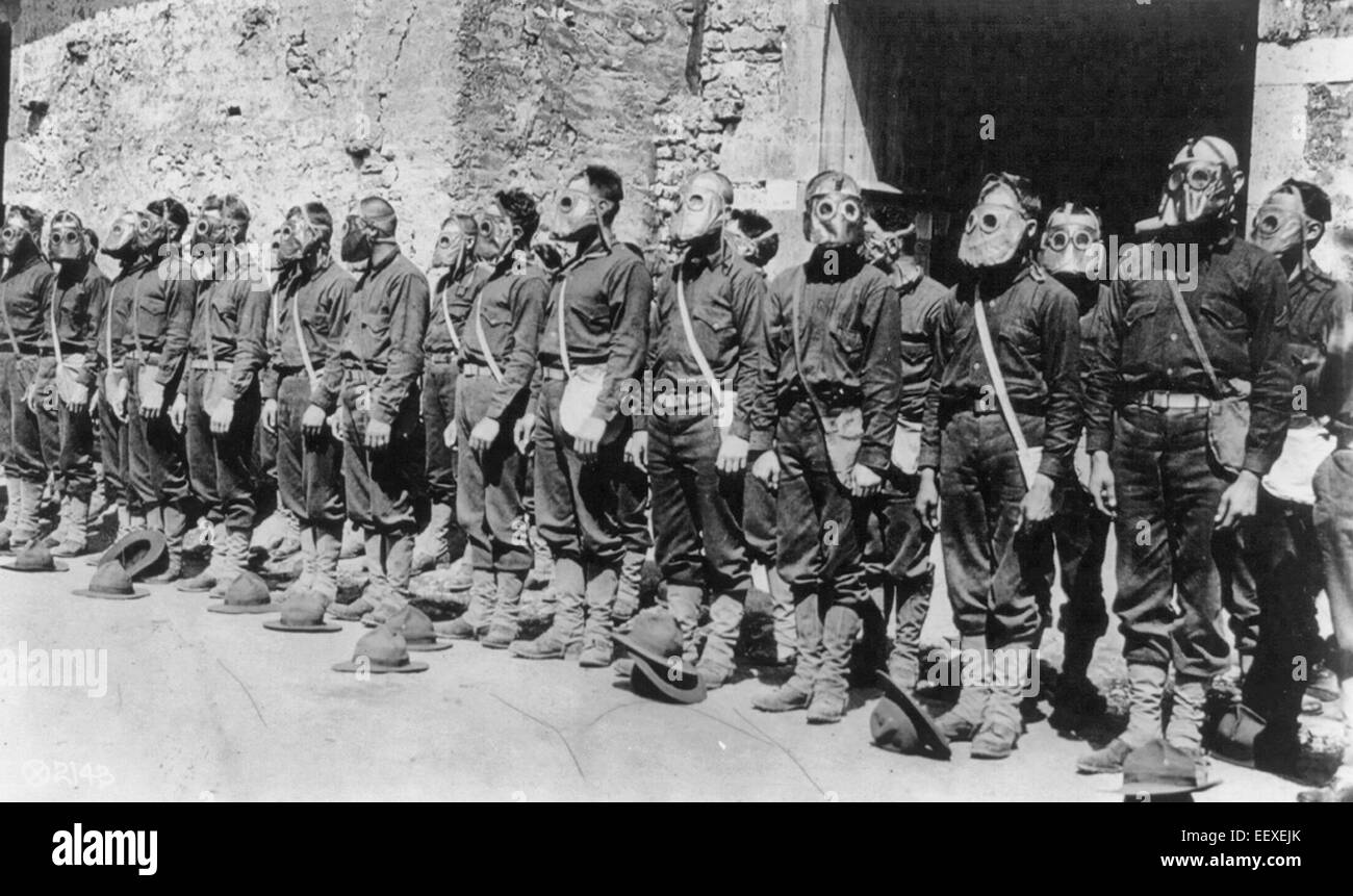 U.S. Marines standing in ranks with gas masks attached; France, 1918 - Stock Image