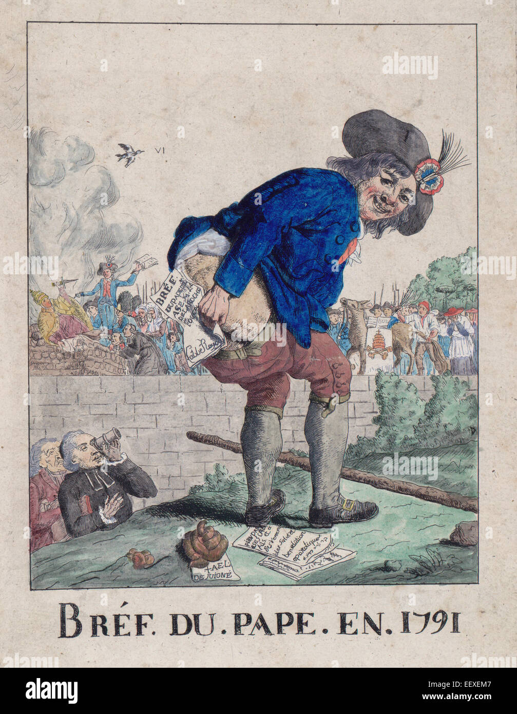 Bréf du Pape en 1791 - Summary: Print shows a member of the Third Estate, with cockade on his hat and a big - Stock Image