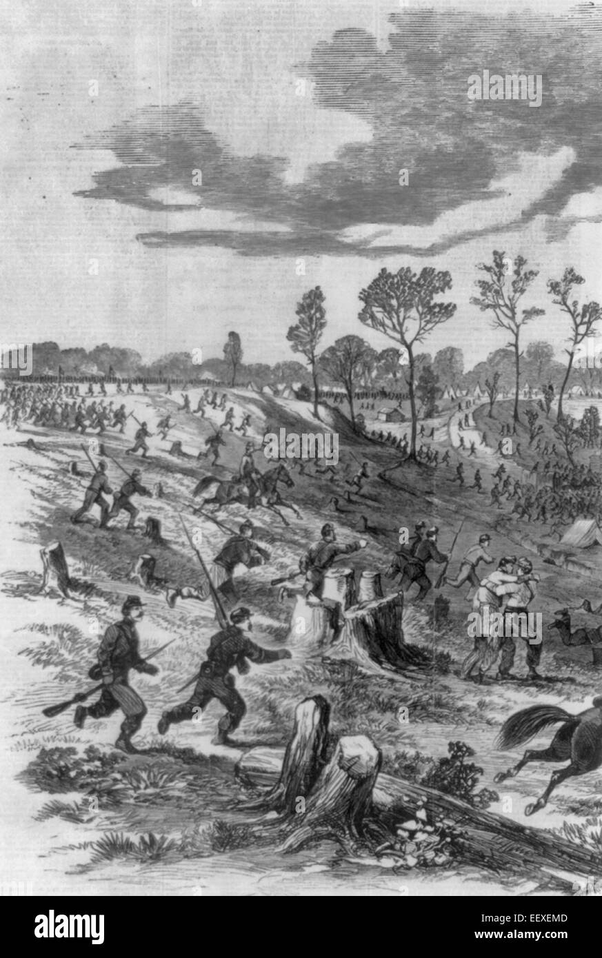 Scene at Pittsburg Landing, Tennessee River, Sunday Afternoon, 6th April 1862 - Union soldiers running toward Riverboat - Stock Image