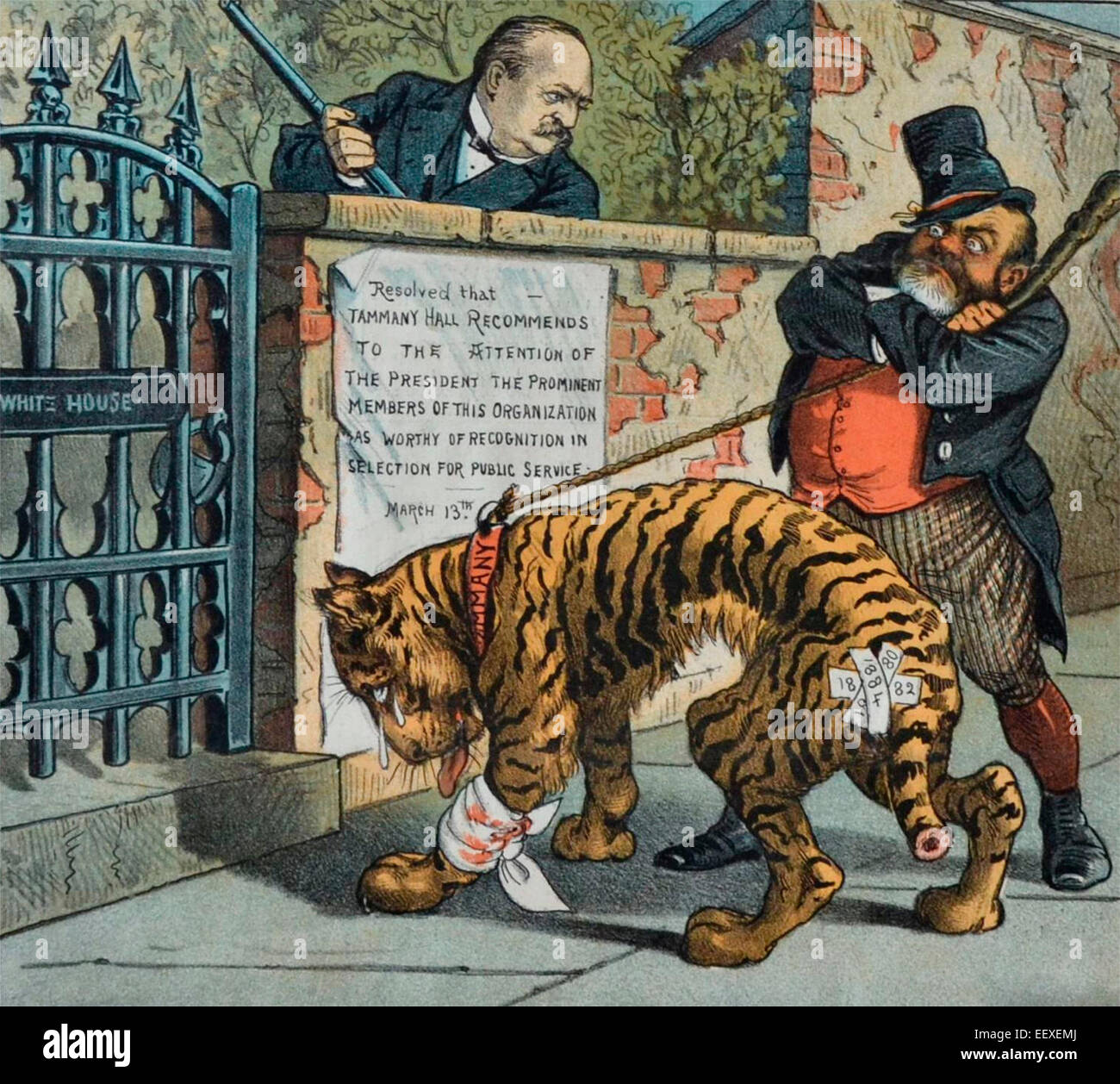 Tammany Tiger Visits President Grover Cleveland at the White House. 1885 political cartoon - Stock Image
