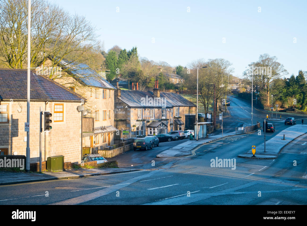 Holcombe brook a village in Lancashire and the local pub, the hare and hounds on bolton road west, england - Stock Image