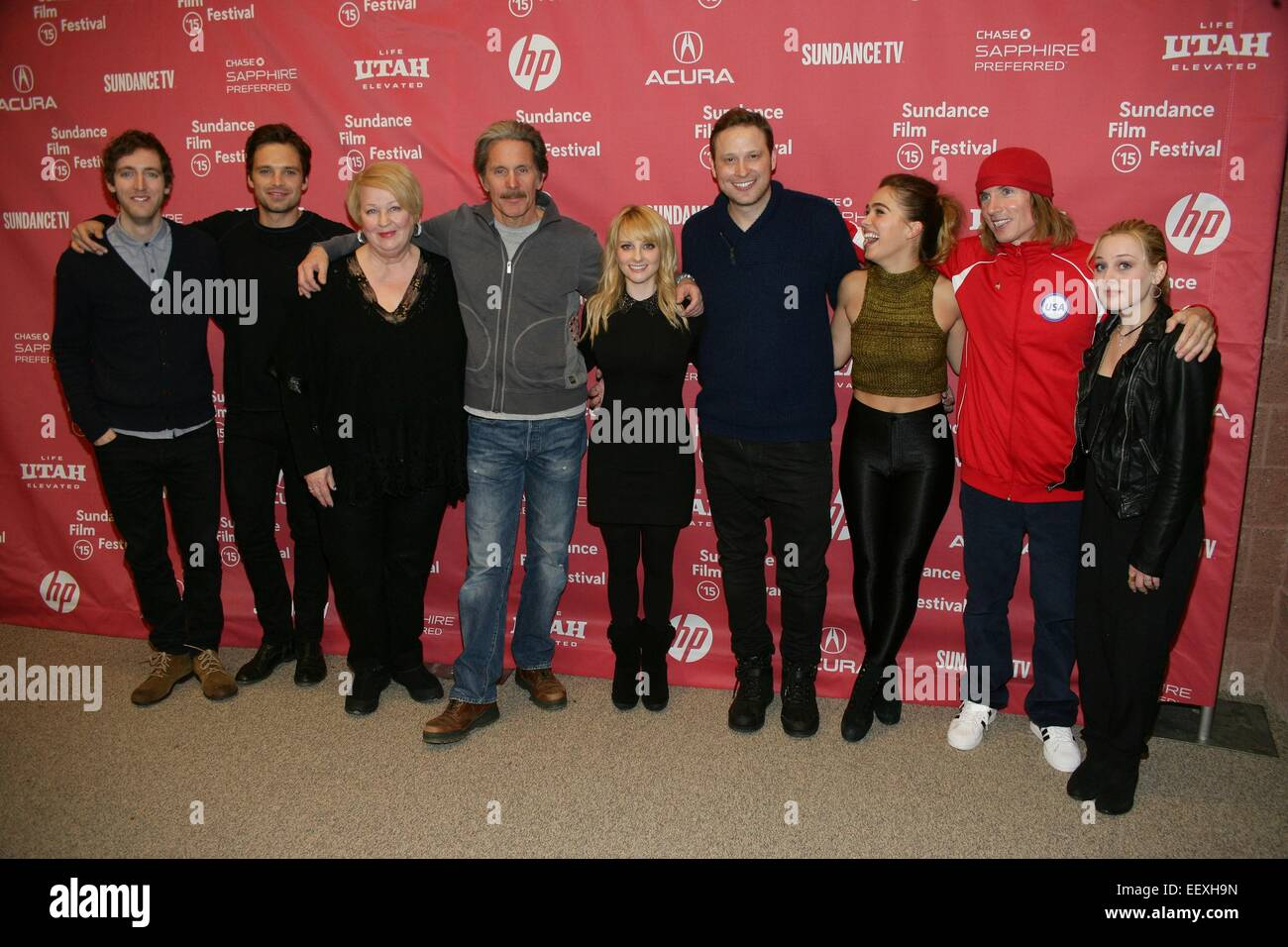 Park City, UT, USA. 22nd Jan, 2015. Thomas Middleditch, Sebastian Stan, Dale Raoul, Gary Cole, Melissa Rauch, Winston Stock Photo