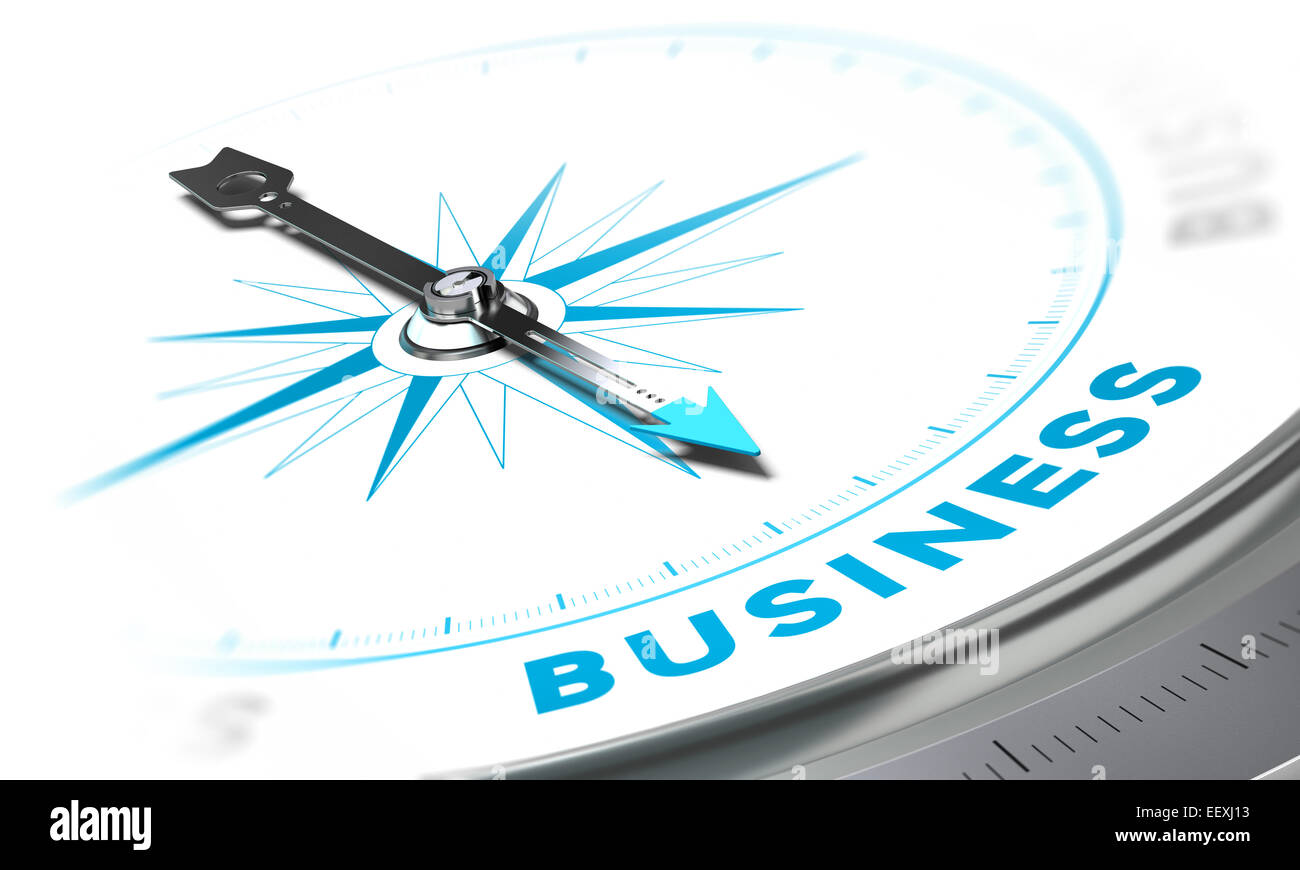 Compass with needle pointing the word business, white and blue tones. Background image for illustration of solutions - Stock Image