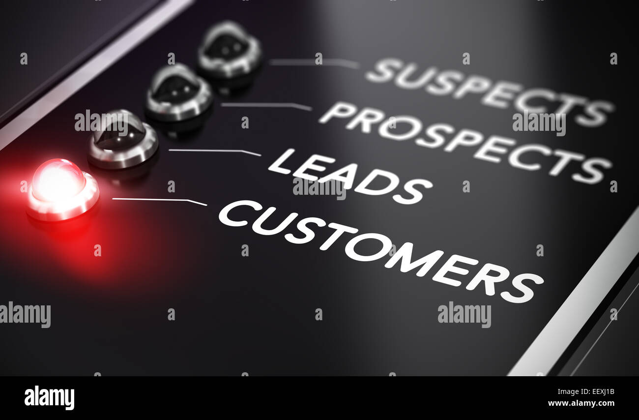 Illustration of internet marketing over black background with red light and blur effect. Lead conversion concept. - Stock Image