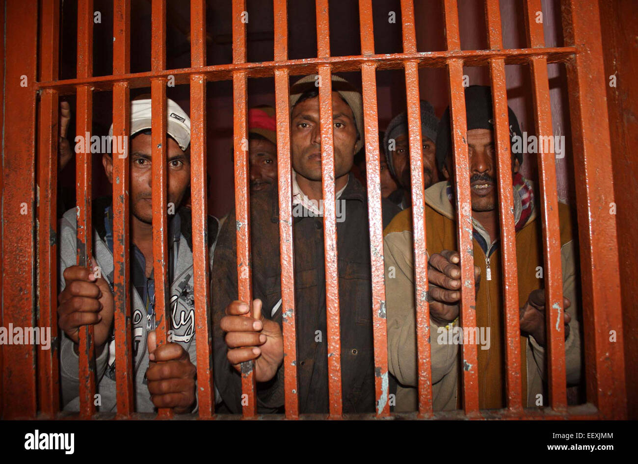 Karachi, Pakistan. 22nd Jan, 2015. Arrested Indian fishermen are seen at a police station in southern Pakistani - Stock Image