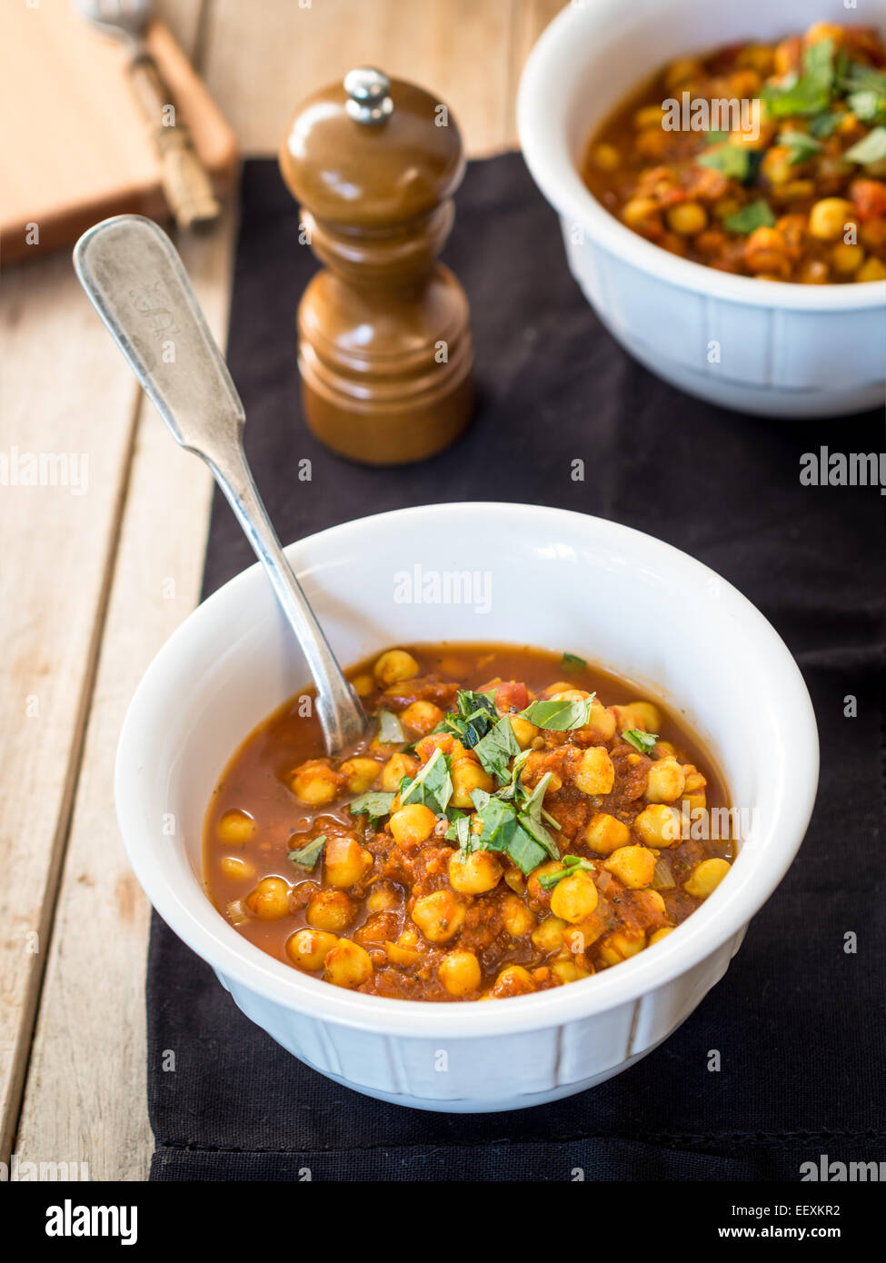 Vegan chickpea curry. - Stock Image