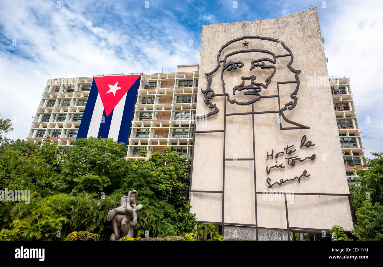 Ernesto Che Guevara as an art installation and propaganda work of art on a house wall on Revolution Square, house Stock Photo