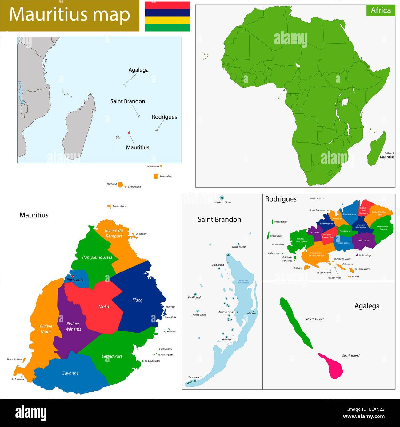 Map Africa Mauritius Stock Photos Map Africa Mauritius Stock