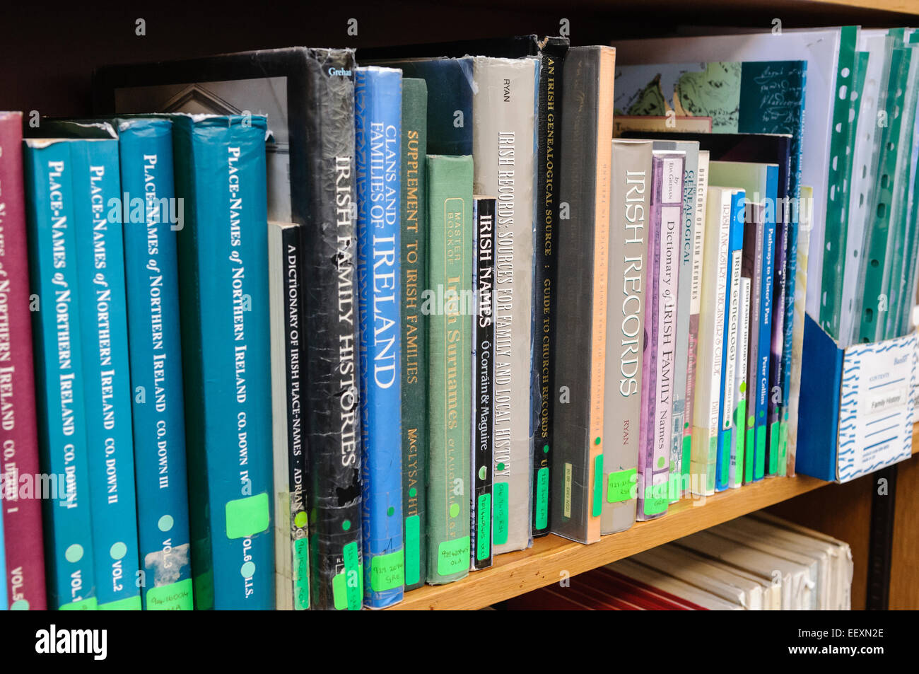 books on irish family history and genealogy research in a belfast library