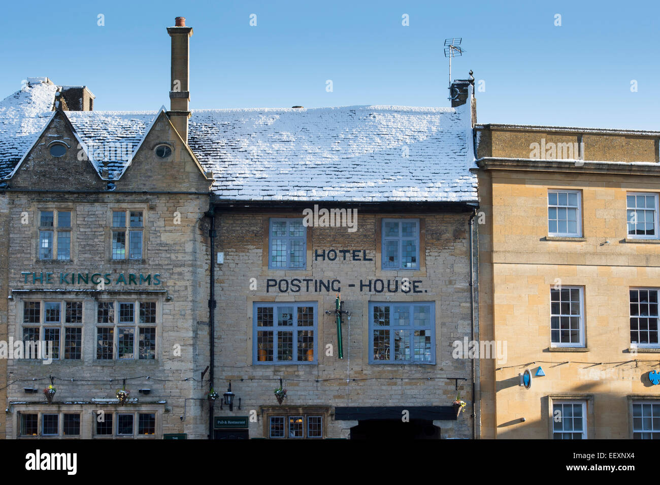 The Kings Arms and Posting house hotel, Stow on the Wold, Gloucestershire, Cotswolds, England - Stock Image