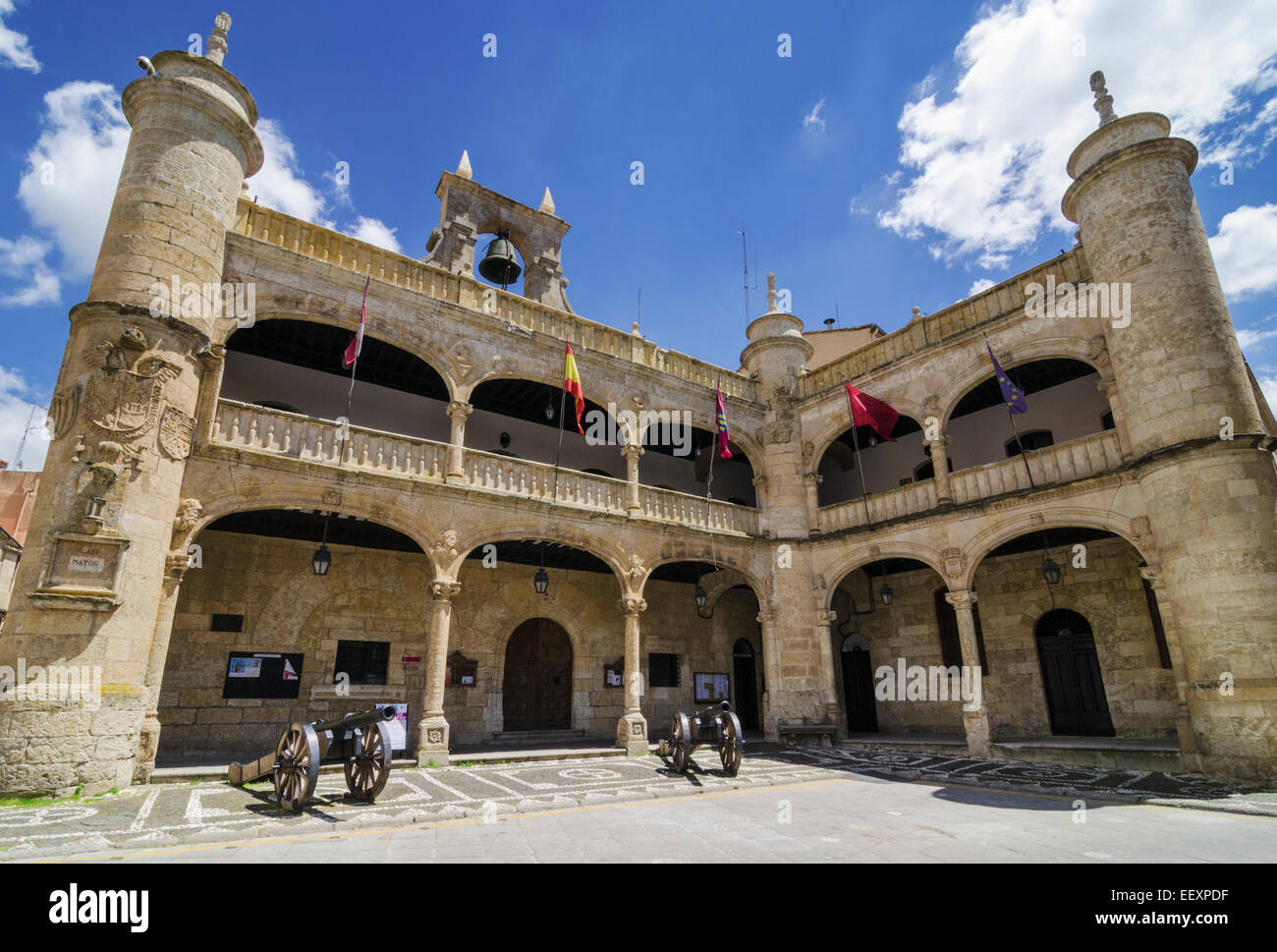 Facade of the16th Century Town Hall of Ciudad Rodrigo, Spain - Stock Image