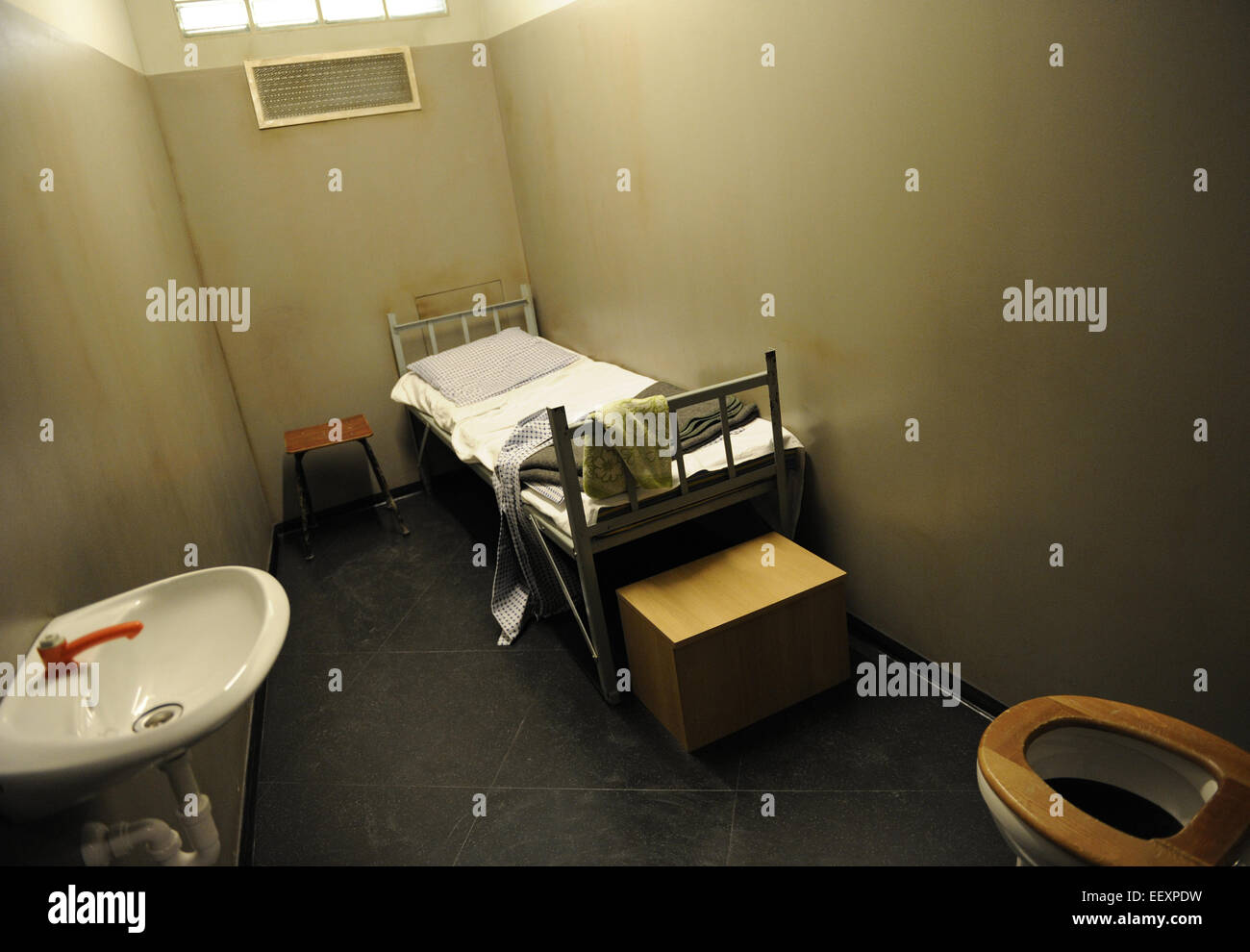East Germany. Prison cell. Recreation. DDR Museum. Berlin. Germany. - Stock Image