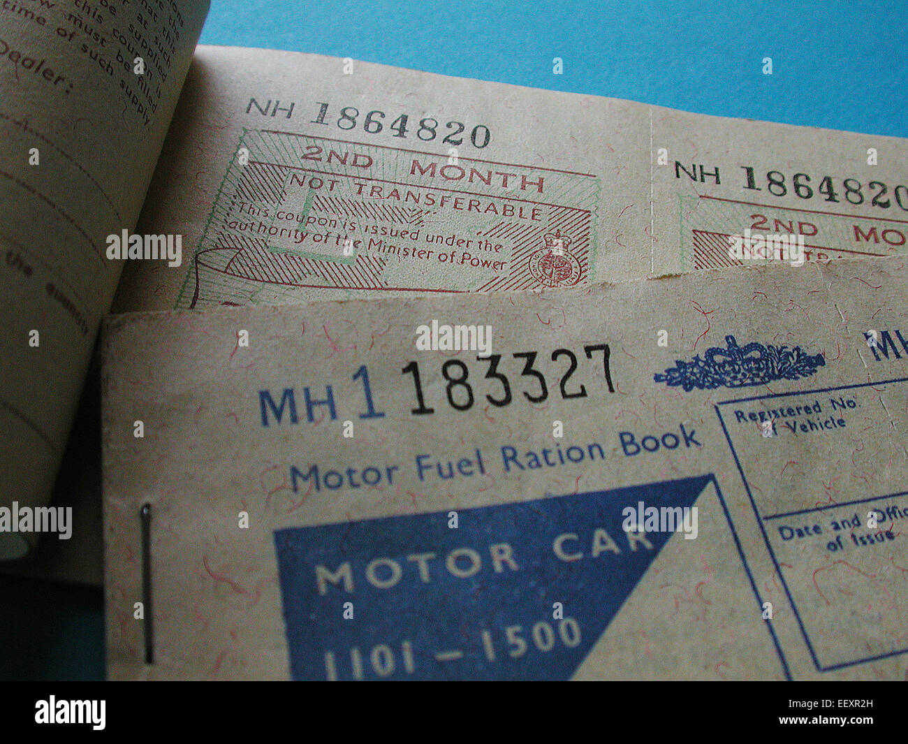 Fuel ration book 1973 oil crisis Petrol rationing books for motor car Stock Photo