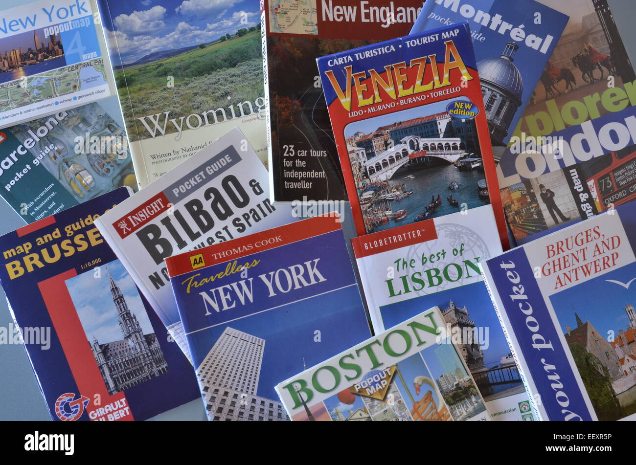 A selection of city guide books - Stock Image