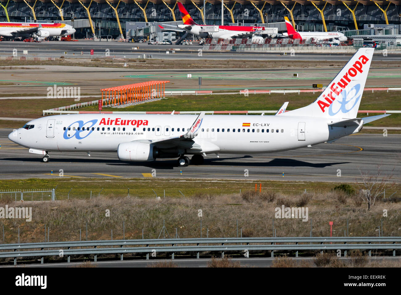 Air Europa Boeing 737-800 taxis to runway 33L at Madrid airport. - Stock Image
