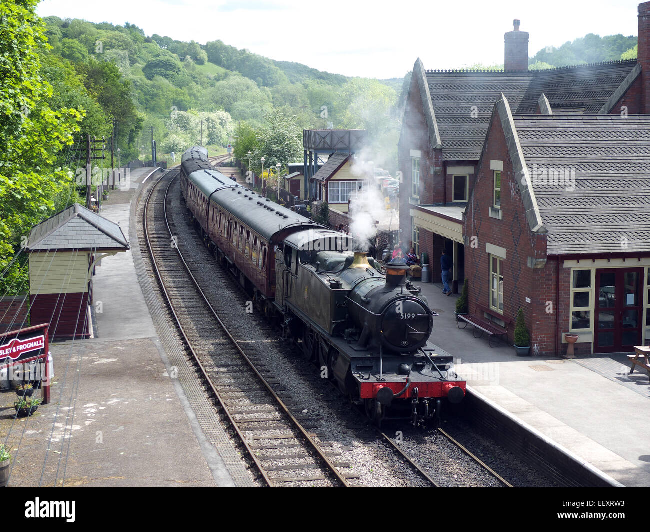 Great Western Railway 5199 tank steam engine at Kingsley & Froghall station, Churnet Valley Railway, Staffordshire, - Stock Image