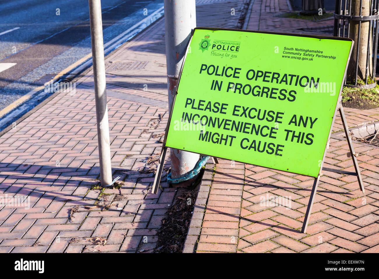 Police operation in progress sign, Nottinghamshire, England, UK - Stock Image