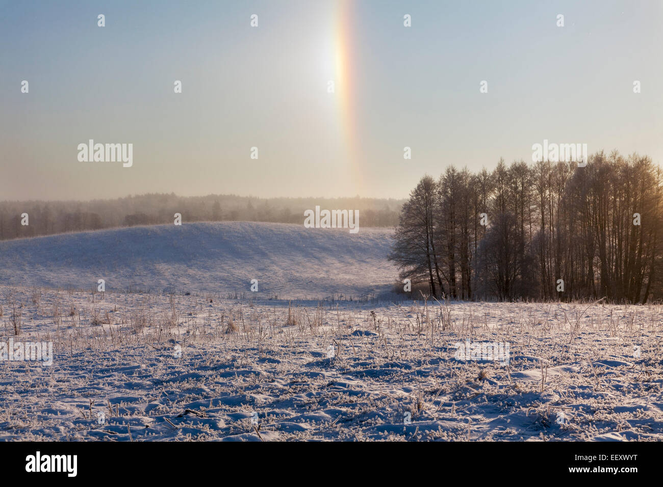 Winter rainbow in the field, Europe - Stock Image