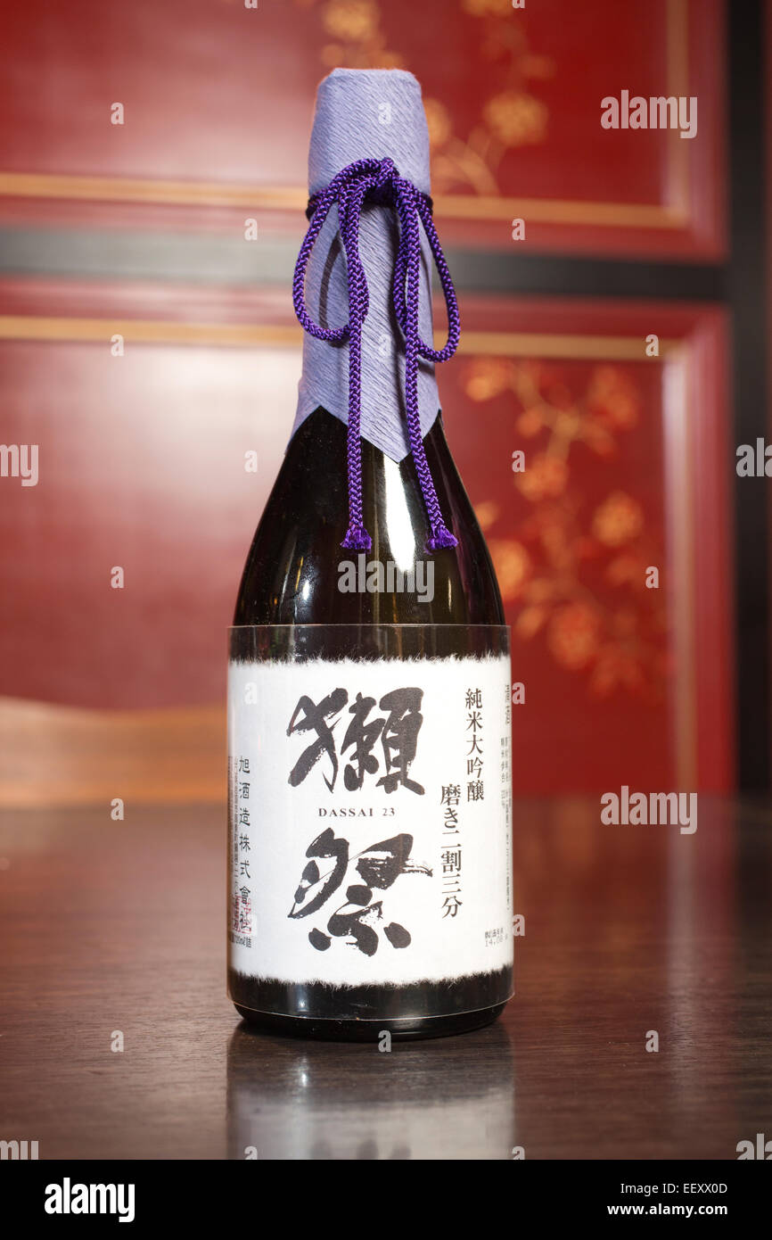 Dassai 23, Junmai Daiginjo, Japanese Sake, Hakkasan restaurant, Mayfair, London, UK - Stock Image