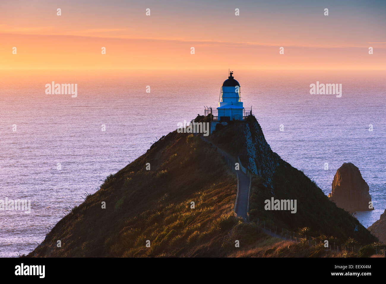 Lighthouse at Nugget Point, Catlins, South Island, New Zealand - Stock Image