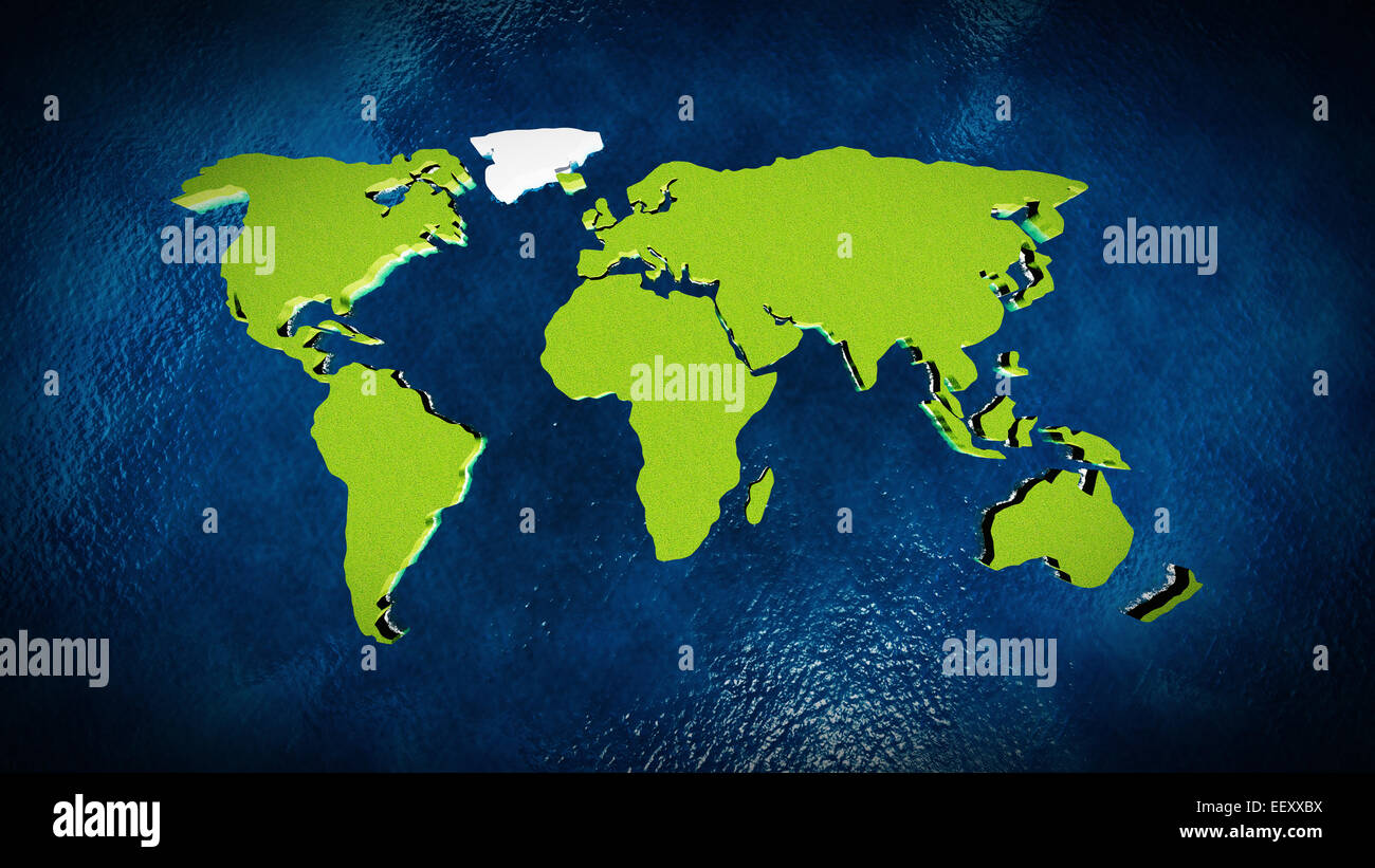 Map of the world in the blue ocean - Stock Image