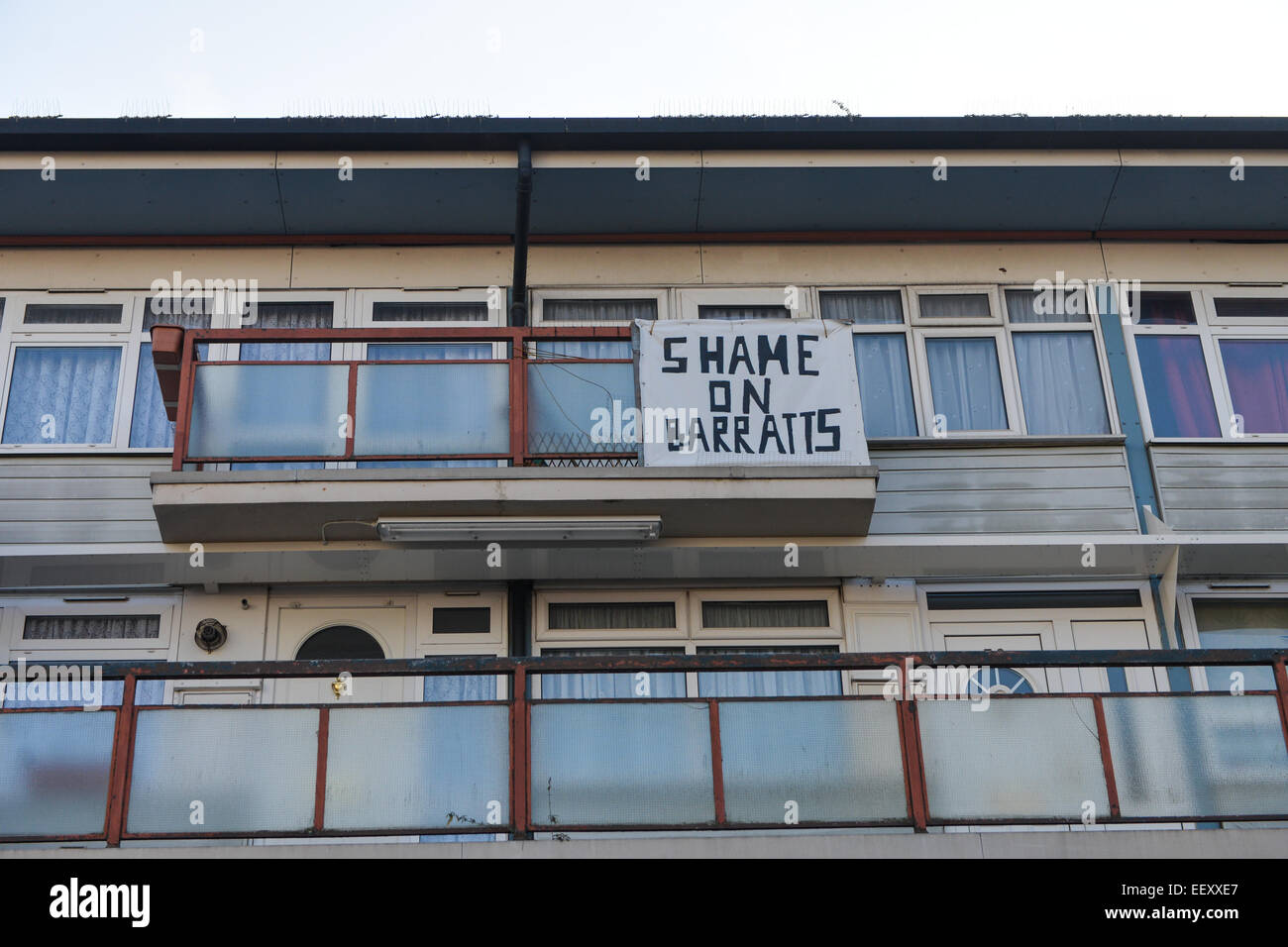 West Hendon Estate, London, UK. 23rd January 2015. Residents on the West Hendon Estate are protesting against the - Stock Image