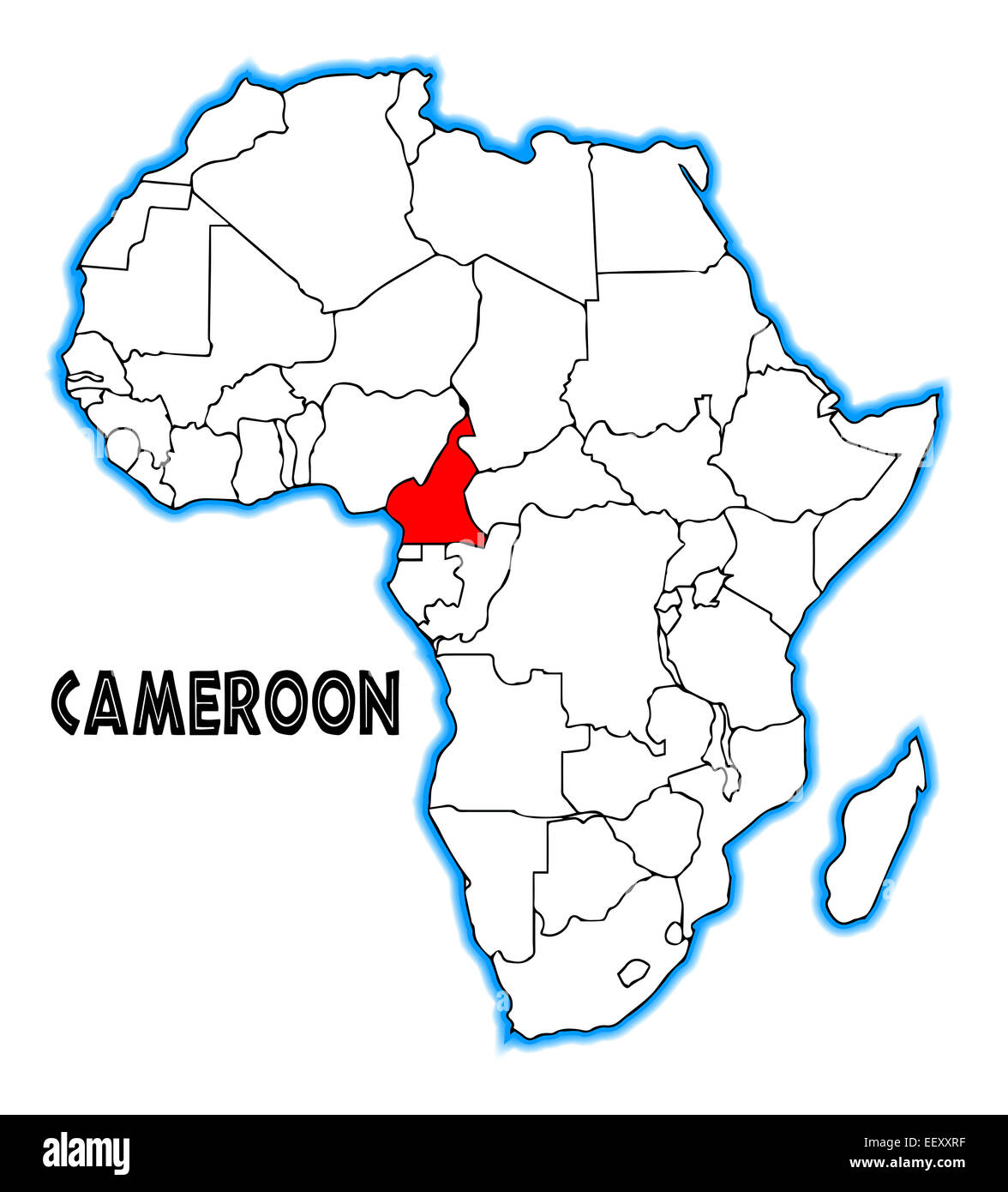 Map Of Africa Cameroon.Cameroon Outline Inset Into A Map Of Africa Over A White